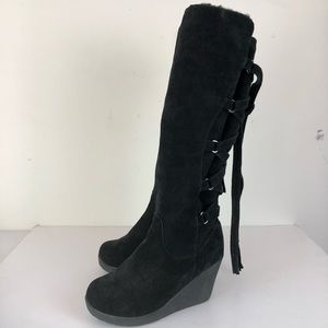 Bearpaw Britney Suede Lace Up Wedge Tall Boots 7